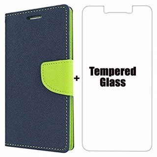 Mercury Fancy Wallet Dairy Flip Case Cover For Motorola Moto G4 Plus Blue + Tempered Glass By Mobimon