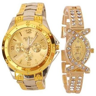 Nublea Rosra  Gold Quartz Couple Watches