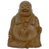 UFC Mart Good Luck Laughing Buddha In Fine Carved Wood