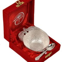 UFC Mart Silver Polished Apple Shape Brass Bowl N Spoon