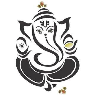 Asmi Collections Wall Stickers Beautiful Black God Ganesha Flower AS053