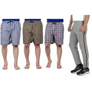 Cybernext Men's Multicolor Set of 3 Checkered Boxer & Get 1 Grey Track Pant Free
