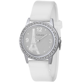 Crude Crystal Studded White Dial women's Analog Watch-rg473 with PU Strap