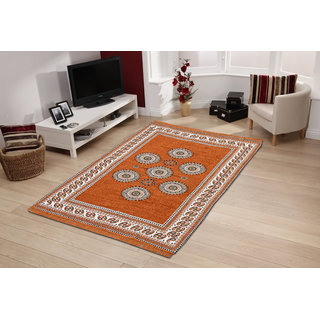 Choco Creation Golden Velvet Carpet in Traditional design (5X7Ft)