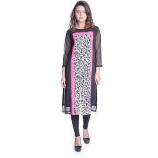 Chandigarh Fashion Mall Beautifull Black Long  Georgette Kurti