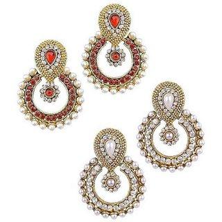 Jewels Gehna Alloy Party Wear  Wedding Designer Combo Earring Set For Women  Girls (Pair Of 2)
