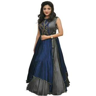 Bhuwal Fashion Blue and Grey Embroidered Dupion Silk Anarkali Suit Material