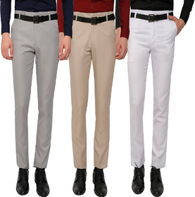 GWALIOR PACK OF 3 FORMAL TROUSERS (LIGHT GREY, LIGHT BROWN, WHITE)