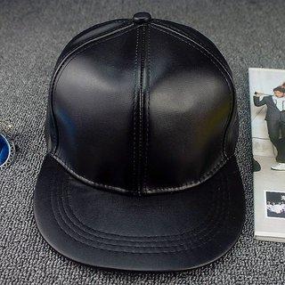 Buy ZEEDAN PLAIN BLACK FAUX LEATHER HIP-HOP CAP SNAP-BACK CAP Online ... 05eaf4abdaa
