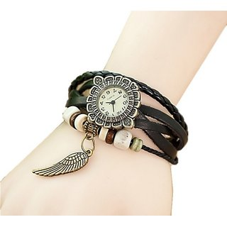 GENUINE LEATHER WOMEN'S WATCH BRACELET LADIES WATCH BlkWg