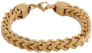 Jewelbox 316L Stainless Steel 18K Gold Plated Wheat Design Mens Bracelet
