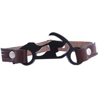 Jewelbox Biker Brown Leather Strap Matt Silver Wrist Band Mens Bracelet