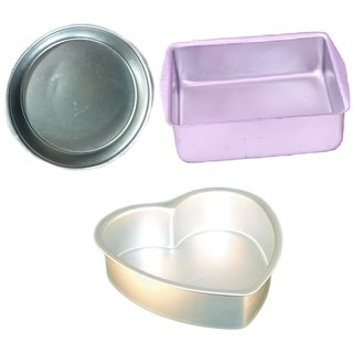 NOOR COMBO OF ALUMINIUM SQUARE,ROUND AND HEART SHAPE MIX SIZE CAKE MOULDS - SET OF 3