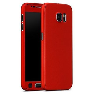 MOBIMON 360 Degree Full Body Protection Front  Back Cover iPaky Style with Tempered Glass for Samsung J210/J2 2016 -Red