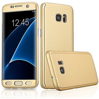 MOBIMON 360 Degree Full Body Protection Front  Back Cover iPaky Style with Tempered Glass for Samsung J210/J2 2016-Gold