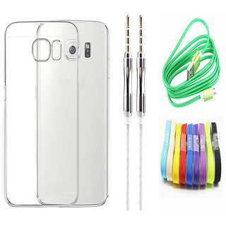 Vivo V5 Plus Soft Transparent TPU Back Cover with 3.5mm Metal Aux cable and Nylon USB Cable