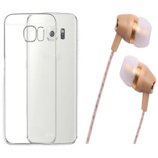 Samsung Galaxy On5 Soft Transparent TPU Back Cover with Fragrant Noise Cancellation Earphones with Mic