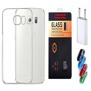 Samsung Galaxy A9 Pro Soft Transparent TPU Back Cover with 9H Tempered Glass and Nylon USB Travel Charger