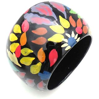 Hand Painted Multicolor Wooden Bangle
