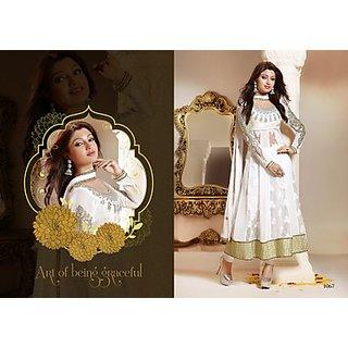Magnificient White Color Anarkali Salwar Suit