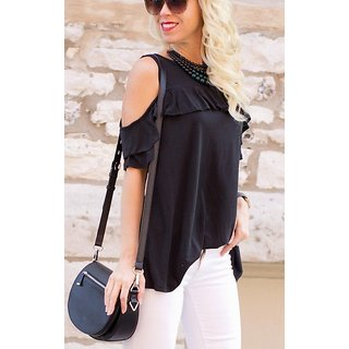 036ca26187e4b Buy Raabta Fashion Black Plain Round Neck Cold Shoulder Top for ...