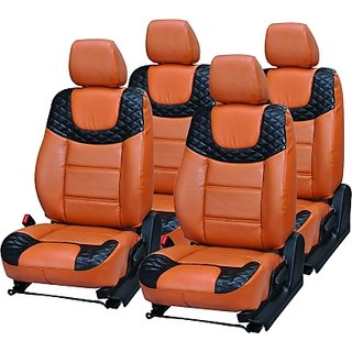 Autodecor Chevrolet Enjoy Orange  Leatherite Car Seat Cover with Neck Rest  Free
