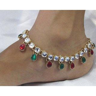 Maroon green kundan white stone anklet