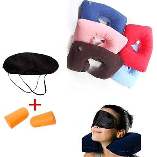 Travel Kit Combo ( 3 in 1) - Neck Air Pillow , Eye Mask  Ear Plug
