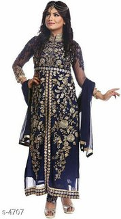 Women's Georgette Embroidered Unstitched Salwar Suit