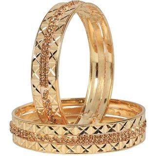 Penny Jewels Latest Designer Fashionable Golden Bangles Set For Women  Girls (Pack Of 2)
