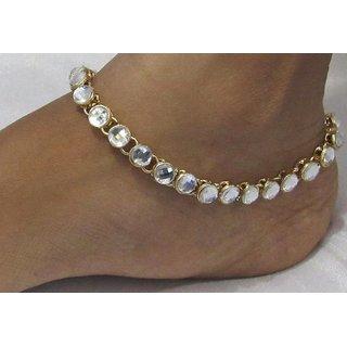 White stone round anklet