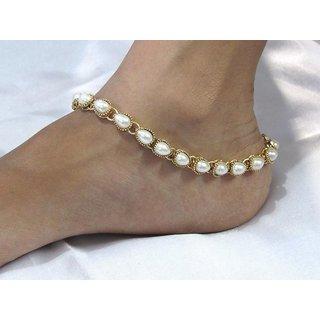 White pearl kundan ankletSMC1014