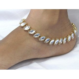 Single line white kundan anklet