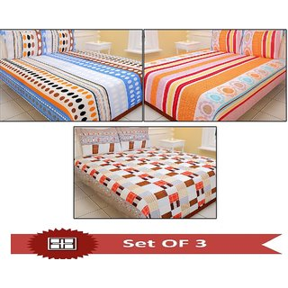 Set Of 3 Carah Multicolor Printed Double Bed Sheet With 6 Pillow Covers