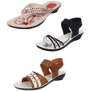 fa7c75c5c84b58 Buy Earton Women Combo Pack Of 3 Fashion Sandals Online   ₹1494 ...