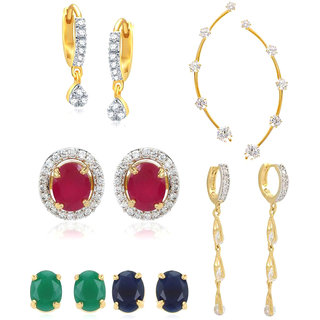 Jewels Gold Alloy American Diamond Stylish Combo Earring Set Changeable Earring Set For Women  Girls (Pair Of 4)