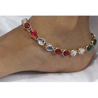 Maroon Green kundan anklets smc001