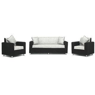 Bharat Lifestyle Tulip 3+1+1 Black And Grey Sofa Set
