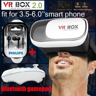 COMBO OFFER 3D VR BOX 2.0 Virtual Reality Glasses Headset With VR Remote.HQ + PHILIPS EARPHONE