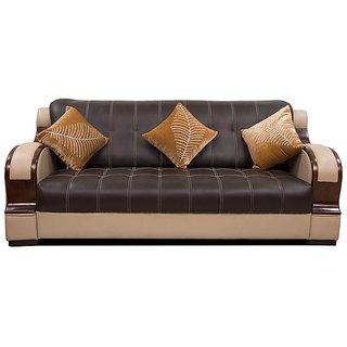 Fabbulls Zak Brown Cream Leatherette 3+1+1 Sofa Set