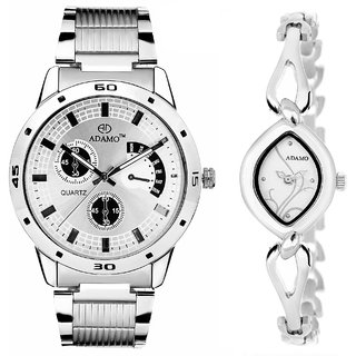 ADAMO Designer Couple Combo Wrist Watch 109-327SM01