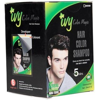 IBS Black hair colour Magic Instant Non toxiic dye 12 poches set with 12 pair of gloves  (300 ml)