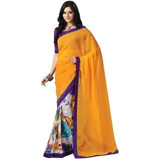 Triveni Multicolor Chiffon Lace Saree With Blouse