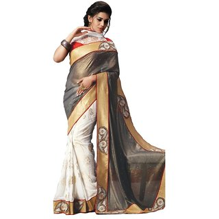 Triveni Gold Georgette Lace Saree With Blouse
