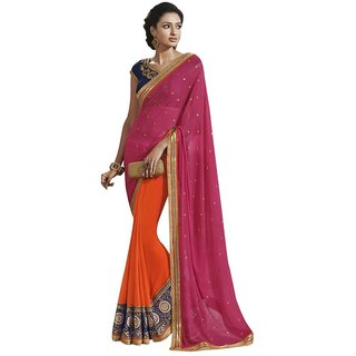 Triveni Red Georgette Lace Saree With Blouse