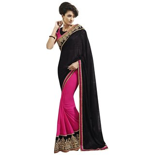 Triveni Impressive Dual Colored Border Worked Georgette Saree Tssa9011