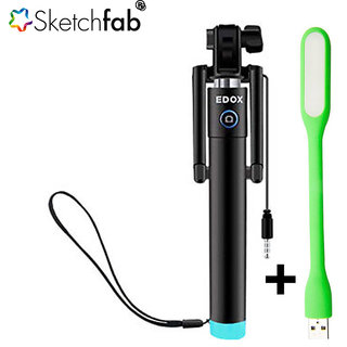 sketchfab compact pocket size selfie stick aux cable connectivity for iphone and android with. Black Bedroom Furniture Sets. Home Design Ideas