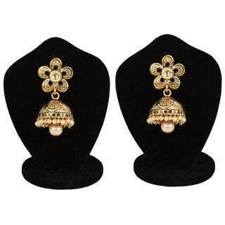 Jewels Gold Alloy Party Wear Fashionable Stylish Golden  Jhumki Earring Set For Women  Girls