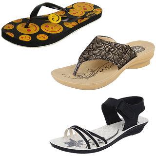 1ac74e4ecefe90 Buy Earton Women Combo Pack Of 3 Flip-Flops With Sandals Online ...