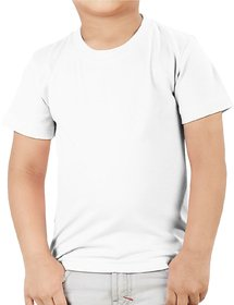 Kid's Round Neck Cotton White T-Shirt